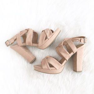 Report | blush pink suedette twist-strappy heels